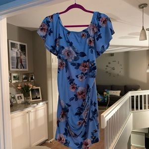 Maternity Floral strapless Blue Dress with ruffle